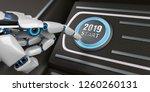 robot hand pushes the button... | Shutterstock . vector #1260260131