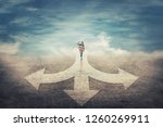 surreal view as woman hand up... | Shutterstock . vector #1260269911