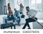 everybody satisfied. friends... | Shutterstock . vector #1260276031