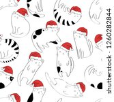 Stock vector funny cute cats with santa claus hat seamless pattern 1260282844