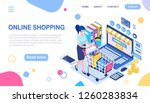 online shopping. woman and... | Shutterstock .eps vector #1260283834