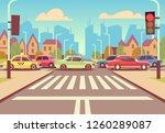 cartoon city crossroads with... | Shutterstock . vector #1260289087