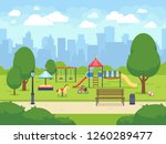 urban summer public garden with ... | Shutterstock . vector #1260289477