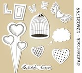 vector set of hand drawn scrap... | Shutterstock .eps vector #126031799