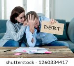 stressed and depressed young... | Shutterstock . vector #1260334417