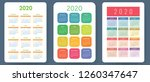 calendar 2020. colorful vector... | Shutterstock .eps vector #1260347647