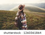 stylish hipster girl in hat... | Shutterstock . vector #1260361864