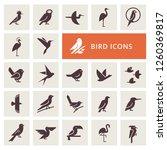 Vector Birds Icon Set In Gray...