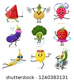 sports fruit characters. set of ... | Shutterstock .eps vector #1260383131