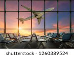 airplane departure  at sunset | Shutterstock . vector #1260389524