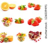 fresh fruits and salad over... | Shutterstock . vector #126039491