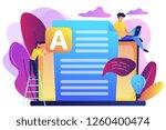 copywriter at huge laptop... | Shutterstock .eps vector #1260400474