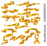 set of yellow or golden ribbons ... | Shutterstock .eps vector #1260405424