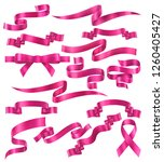 set of pink ribbons  vector... | Shutterstock .eps vector #1260405427