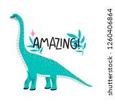 cute cartoon dinosaur on white... | Shutterstock .eps vector #1260406864