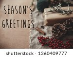 season's greetings text sign on ...   Shutterstock . vector #1260409777