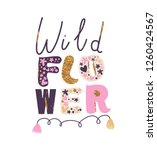 "cute girly print ""wild flower"". ... | Shutterstock .eps vector #1260424567"