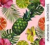 watercolor pattern with... | Shutterstock . vector #1260426601
