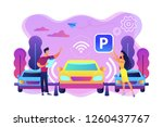 self driving car with sensors... | Shutterstock .eps vector #1260437767