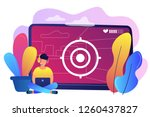 gamer in headset with laptop... | Shutterstock .eps vector #1260437827