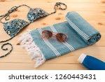 handwoven hammam turkish cotton ...   Shutterstock . vector #1260443431