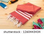 handwoven hammam turkish cotton ... | Shutterstock . vector #1260443434