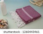 handwoven hammam turkish cotton ...   Shutterstock . vector #1260443461
