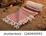 handwoven hammam turkish cotton ...   Shutterstock . vector #1260443491