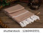 handwoven hammam turkish cotton ... | Shutterstock . vector #1260443551