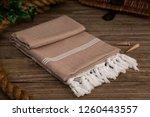 handwoven hammam turkish cotton ... | Shutterstock . vector #1260443557