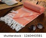handwoven hammam turkish cotton ... | Shutterstock . vector #1260443581