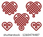 chinese knots in form of heart. ... | Shutterstock .eps vector #1260474487