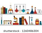 chemistry  science. shelf with... | Shutterstock .eps vector #1260486304