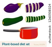 eggplant and zucchini whole and ... | Shutterstock .eps vector #1260508324