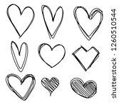 set of nine hand drawn heart.... | Shutterstock .eps vector #1260510544