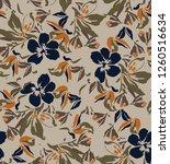 vector flowers leaf pattern | Shutterstock . vector #1260516634