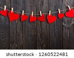 red hearts on rope with... | Shutterstock . vector #1260522481
