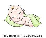 sleeping baby. newborn infant... | Shutterstock .eps vector #1260542251