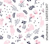 cute cat with flowers pattern... | Shutterstock .eps vector #1260551347