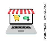 buy online store. laptop with... | Shutterstock . vector #1260562951