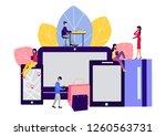 shopping through online stores. ...   Shutterstock .eps vector #1260563731