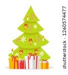 christmas tree with gift boxes... | Shutterstock . vector #1260574477
