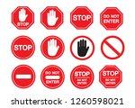 traffic sign stop set. vector... | Shutterstock .eps vector #1260598021