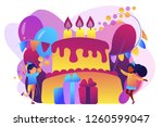 happy kids at huge cake with... | Shutterstock .eps vector #1260599047