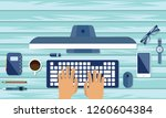 illustration of office desk and ... | Shutterstock .eps vector #1260604384