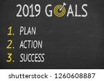 new year 2019 goals on... | Shutterstock . vector #1260608887