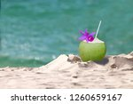 tropical fresh coconut cocktail ... | Shutterstock . vector #1260659167