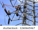 work on high voltage towers | Shutterstock . vector #1260665467