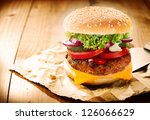 delicious cheeseburger stacked...   Shutterstock . vector #126066629