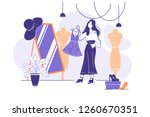 flat young woman trying on... | Shutterstock .eps vector #1260670351